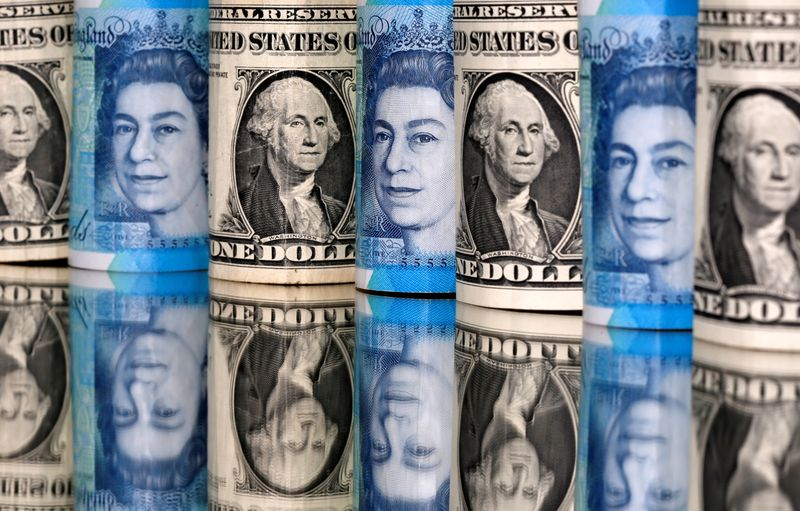 Pound and U.S. dollar bills are seen in this illustration