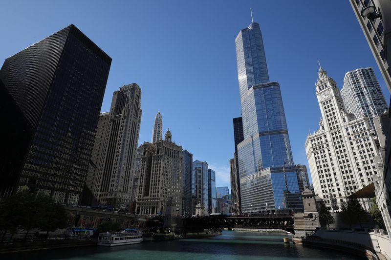 The skyline is seen in Chicago