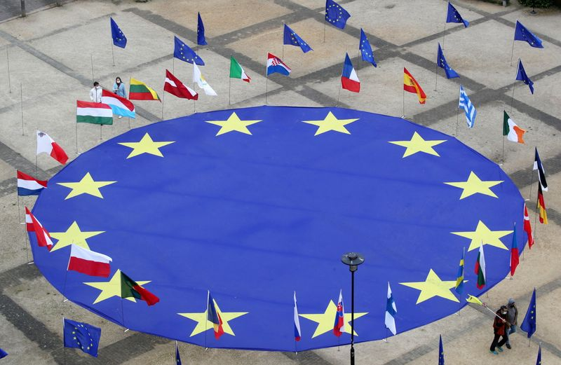 EU flag lies at Schuman square on eve of Europe Day in Brussels