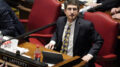 "State Rep. Justin Lafferty, R-Knoxville, watches the tally board during a vote in the House of Representatives, Tuesday, May 4, 2021, in Nashville, Tenn. Lafferty falsely declared that an 18th century policy designating a slave as three-fifths of a person was adopted for ""the purpose of ending slavery,"" commenting amid a debate over whether educators should be restricted while teaching about systematic racism in America. (AP Photo/Mark Humphrey)"