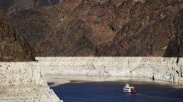 "FILE - In this Oct. 14, 2015, file photo, a riverboat glides through Lake Mead on the Colorado River at Hoover Dam near Boulder City, Nev. California Gov. Gavin Newsom has expanded a drought emergency declaration to a large swath of the nation's most populated state amid ""acute water supply shortages"" in northern and central areas. Monday May 10, 2021 declaration now covers 41 of the 58 counties, covering 30% of California's nearly 40 million people. (AP Photo/Jae C. Hong, File)"
