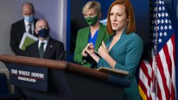 White House press secretary Jen Psaki introduces Energy Secretary Jennifer Granholm and Homeland Security Secretary Alejandro Mayorkas during a press briefing at the White House, Tuesday, May 11, 2021, in Washington. (AP Photo/Evan Vucci)