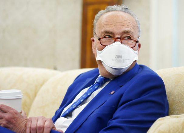 Senate Majority Leader Chuck Schumer of N.Y., attends a meeting with President Joe Biden and congressional leaders in the Oval Office of the White House, Wednesday, May 12, 2021, in Washington. (AP Photo/Evan Vucci)