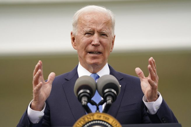 President Joe Biden speaks on updated guidance on face mask mandates and COVID-19 response, in the Rose Garden of ... <a target=