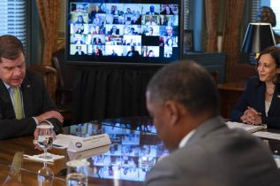 Vice President Kamala Harris, right, listens to Labor Secretary Marty Walsh, far left, during the inaugural meeting of the Task Force on Worker Organizing and Empowerment, with Vice President Kamala Harris, in Harris' ceremonial office, Thursday, May 13, 2021, on the White House complex in Washington. (AP Photo/Jacquelyn Martin)