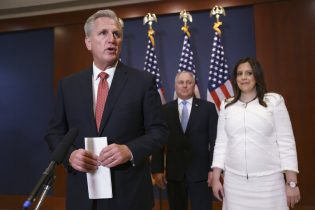 From left, House Minority Leader Kevin McCarthy, R-Calif., Minority Whip Steve Scalise, R-La., and Rep. Elise Stefanik, R-N.Y., speak to reporters at the Capitol in Washington, Friday, May 14, 2021, just after Stefanik was elected the new chair of the House Republican Conference, replacing Rep. Liz Cheney, R-Wyo., who was ousted from the GOP leadership for criticizing former President Donald Trump. (AP Photo/J. Scott Applewhite)