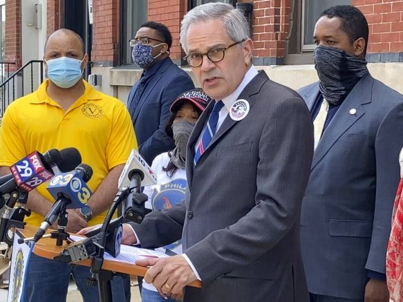 In this Friday, May 14, 2021 photo, Philadelphia District Attorney Larry Krasner speaks during a news conference where the Guardian Civic League and Club Valiants, the fraternal organizations that represent Black and Latino police and firefighters, endorsed him for the upcoming Democratic primary, in Philadelphia. (AP Photo/Claudia Lauer)
