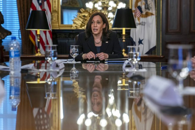 Vice President Kamala Harrisspeaks at the start of a meeting with bipartisan members of Congress about high-speed internet in the Vice President's Ceremonial Office at the Eisenhower Executive Office Building on the White House complex in Washington, Wednesday, May 26, 2021. (AP Photo/Carolyn Kaster)