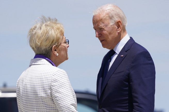 President Joe Biden speaks with Rep. Marcy Kaptur, D-Ohio, as he arrives at Cleveland Hopkins International Airport, Thursday, May 27, 2021, in Cleveland. (AP Photo/Evan Vucci)