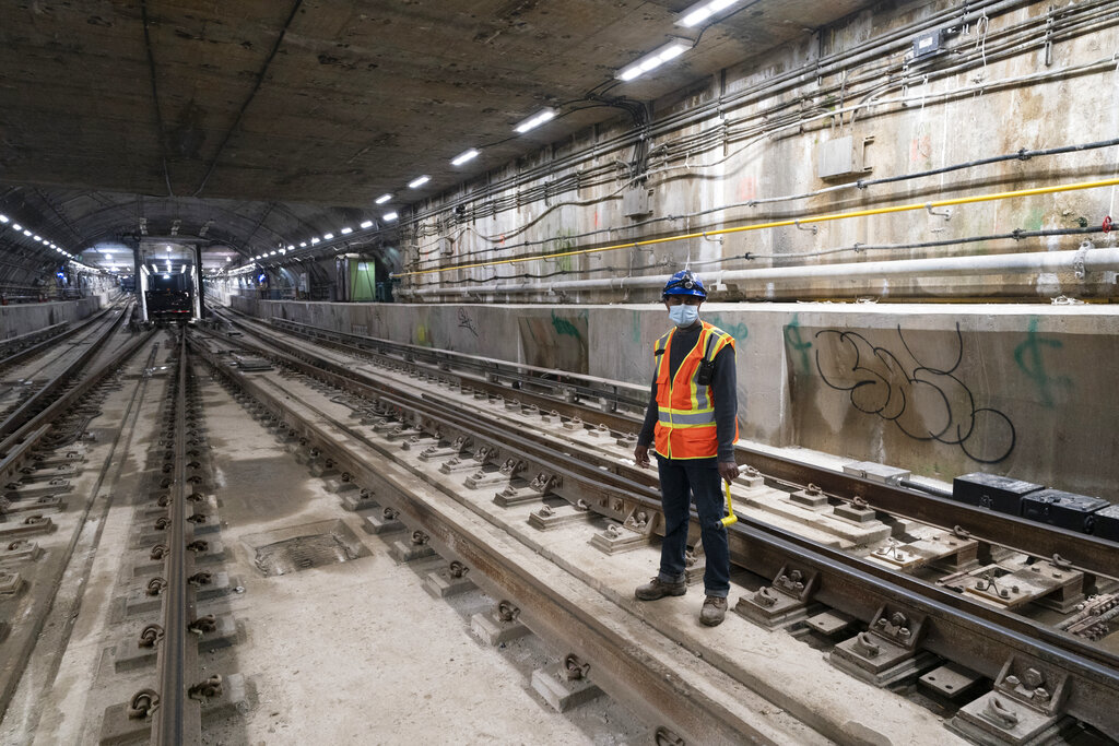 A train tunnel that is part of the East Side Access will connect, when completed, rail yards in Queens with Grand Central Terminal, Thursday, May 27, 2021, in New York. (AP Photo/Mark Lennihan)