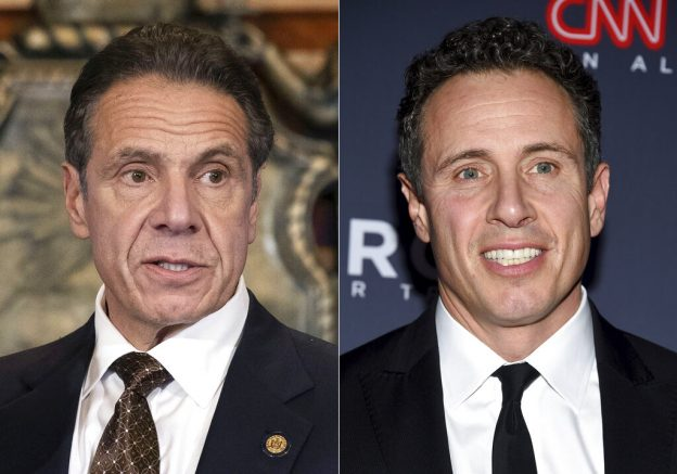 """FILE -New York Gov. Andrew M. Cuomo appears during a news conference about the COVID-19at the State Capitol in Albany, N.Y., on Dec. 3, 2020, left, and CNN anchor Chris Cuomo attends the 12th annual CNN Heroes: An All-Star Tribute at the American Museum of Natural History in New York on Dec. 9, 2018. CNN said Thursday, May 20, 2021 it was """"inappropriate"""" for anchor Chris Cuomo to have been involved in phone calls with the staff of his brother, New York Gov. Andrew Cuomo, where strategies on how the governor should respond to sexual harassment allegations were allegedly discussed.(Mike Groll/Office of Governor of Andrew M. Cuomo via AP, left, and Evan Agostini/Invision/AP)"""