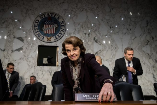 WASHINGTON, DC - DECEMBER 6: Ranking member Sen. Dianne Feinstein (D-CA) arrives for a Senate Judiciary Committee hearing concerning firearm accessory regulation and enforcing federal and state reporting to the National Instant Criminal Background Check System (NICS) on Capitol Hill, December 6, 2017 in Washington, DC. (Photo by Drew Angerer/Getty Images)