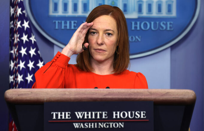 WASHINGTON, DC - JANUARY 21: White House Press Secretary Jen Psaki speaks during a press briefing at the James Brady Press Briefing Room of the White House January 21, 2021 in Washington, DC. Psaki held her second press briefing since President Joe Biden took office yesterday. (Photo by Alex Wong/Getty Images)