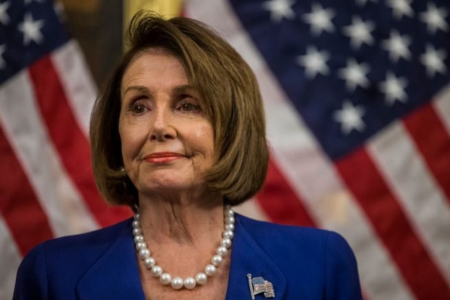 WASHINGTON, DC - OCTOBER 16: House Speaker Nancy Pelosi (D-CA) looks on during a news conference discussing H.R. 3, the Lower Drug Costs Now Act, on Capitol Hill on October 16, 2019 in Washington, DC. The bill aims to end the ban on Medicare negotiating directly with drug companies, and reinvest in innovation medical treatment. (Photo by Zach Gibson/Getty Images)