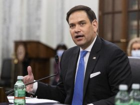 Sen. Marco Rubio, R-Fla., speaks during a Senate Committee on Commerce, Science, and Transportation confirmation hearing, Wednesday, April 21, 2021 on Capitol Hill in Washington. (Graeme Jennings/Pool via AP)