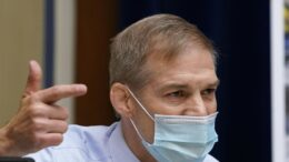 Rep. Jim Jordan, R-Ohio, questions Dr. Anthony Fauci, the nation's top infectious disease expert, during a House Select Subcommittee on the Coronavirus Crisis hearing on Capitol Hill in Washington, Thursday, April 15, 2021. (AP Photo/Susan Walsh, Pool)