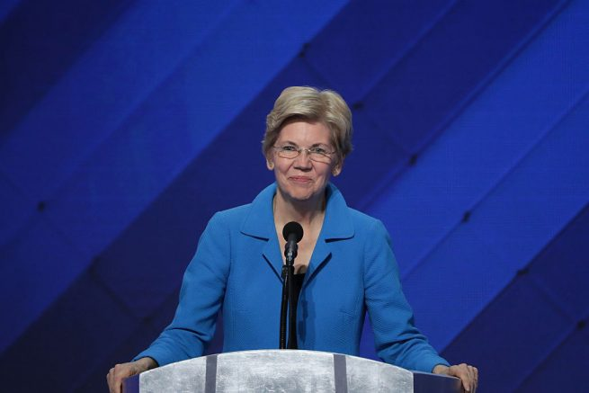 PHILADELPHIA, PA - JULY 28: Sen. Elizabeth Warren (D-MA) delivers remarks on the fourth day of the Democratic National Convention at the Wells Fargo Center, July 28, 2016 in Philadelphia, Pennsylvania. Democratic presidential candidate Hillary Clinton received the number of votes needed to secure the party's nomination. An estimated 50,000 people are expected in Philadelphia, including hundreds of protesters and members of the media. The four-day Democratic National Convention kicked off July 25. (Photo by Alex Wong/Getty Images)