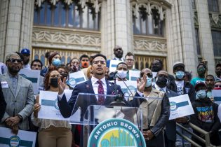Atlanta City Councilman Antonio Brown speaks during a news conference outside of Atlanta City Hall in Atlanta, Friday, May 14, 2021. During the presser, Councilman Brown announced that he is running for mayor of Atlanta. (Alyssa Pointer /Atlanta Journal-Constitution via AP)