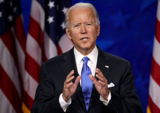 WILMINGTON, DELAWARE - AUGUST 20: Democratic presidential nominee Joe Biden delivers his acceptance speech on the fourth night of the Democratic National Convention from the Chase Center on August 20, 2020 in Wilmington, Delaware. The convention, which was once expected to draw 50,000 people to Milwaukee, Wisconsin, is now taking place virtually due to the coronavirus pandemic. (Photo by Win McNamee/Getty Images)