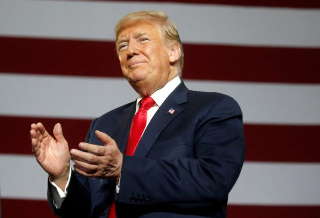 U.S. President Donald Trump holds a Make America Great Again rally in Olentangy Orange High School in Lewis Center, Ohio, U.S., August 4, 2018. REUTERS/Leah Millis - RC1471297D60
