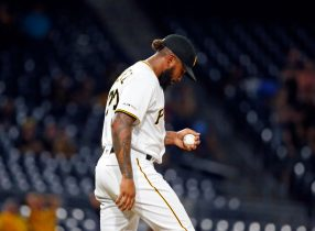 PITTSBURGH, PA - SEPTEMBER 03: Felipe Vazquez #73 of the Pittsburgh Pirates reacts after giving up a home run in the ninth inning against the Miami Marlins at PNC Park on September 3, 2019 in Pittsburgh, Pennsylvania. (Photo by Justin K. Aller/Getty Images)