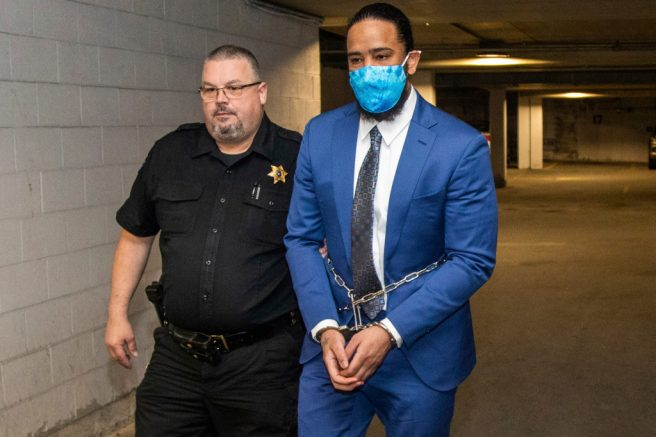 Former Pittsburgh Pirates pitcher Felipe Vasquez is taken to jail following his conviction trial. Andrew Rush/Pittsburgh Post-Gazette via AP