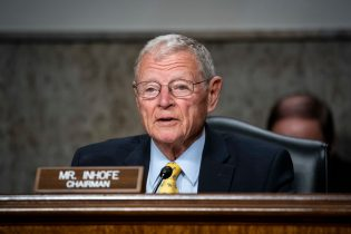 WASHINGTON, DC - MAY 7: Senator Jim Inhofe, a Republican from Oklahoma and chairman of the Senate Armed Services Committee, speaks during a Senate Armed Services Committee confirmation hearing for Kenneth Braithwaite, U.S. President Donald Trumps nominee for navy secretary, May 7, 2020 in Washington, D.C. Committee members may ask Braithwaite whether achieving the administration's goal of a 355-ship fleet over the next decade, up from 299 today, is realistic in light of cost constraints. (Photo by Al Drago/Getty Images)