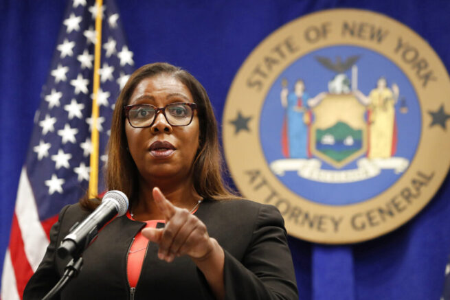 FILE- In this Aug. 6, 2020 file photo, New York State Attorney General Letitia James takes a question at a news conference in New York. The Office of the New York Attorney General said in a new report, Thursday, May 6, 2021, that a campaign funded by the broadband industry submitted millions of fake comments supporting the 2017 repeal of net neutrality. The Federal Communications Commission's contentious 2017 repeal undid Obama-era rules that the broadband industry had sued to stop. (AP Photo/Kathy Willens, File)