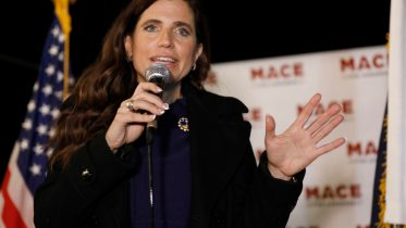 Republican Nancy Mace talks to supporters during her election night party Tuesday, Nov. 3, 2020, in Mount Pleasant, S.C. Mace is running in South Carolina's 1st Congressional District. (AP Photo/Mic Smith)