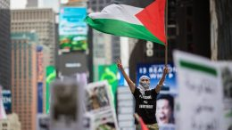 NEW YORK, NY - MAY 18: Members of the Palestinian community, fellow Muslims and their supporters rally in support of the Palestinian people in the wake of the recent violence in the Gaza Strip, during a rally in Times Square, May 18, 2018 in New York City. Israeli soldiers killed over 50 Palestinian protestors earlier this week during violent demonstrations on the Gaza-Israel border, which also coincided with the controversial opening of the new U.S. Embassy in Jerusalem. (Photo by Drew Angerer/Getty Images)