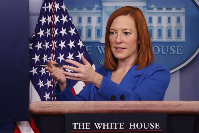 WASHINGTON, DC - FEBRUARY 02: White House Press Secretary Jen Psaki answers reporters' questions during the daily news briefing at the White House February 02, 2021 in Washington, DC. Psaki talked to reporters about President Joe Biden's plan to sign several executive orders related to immigration. (Photo by Chip Somodevilla/Getty Images)