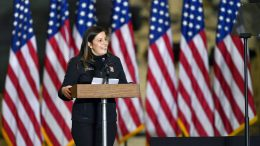 FILE - In this Jan. 17, 2021, file photo Rep. Elise Stefanik, R-N.Y., introduces Vice President Mike Pence and second lady Karen Pence to speak to Army 10th Mountain Division soldiers in Fort Drum, N.Y. Conservatives in and out of Congress are expressing opposition to Stefanik's rise toward House Republicans' No. 3 leadership job. Stefanik has embraced many of former President Donald Trump's evidence-free claims about 2020 election fraud. She declared this week that states unconstitutionally changed their election laws and said she supports an audit of Arizona votes that conservatives are using to bolster suspicions about the results. (AP Photo/Adrian Kraus, File)
