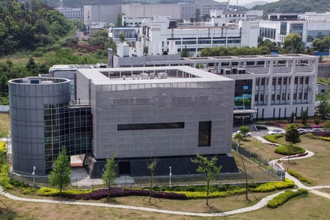 TOPSHOT - An aerial view shows the P4 laboratory at the Wuhan Institute of Virology in Wuhan in China's central Hubei province on April 17, 2020. - The P4 epidemiological laboratory was built in co-operation with French bio-industrial firm Institut Merieux and the Chinese Academy of Sciences. The facility is among a handful of labs around the world cleared to handle Class 4 pathogens (P4) - dangerous viruses that pose a high risk of person-to-person transmission. (Photo by Hector RETAMAL / AFP) (Photo by HECTOR RETAMAL/AFP via Getty Images)