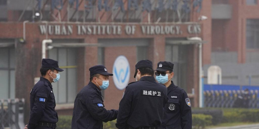 Security personnel gather near the entrance of the Wuhan Institute of Virology during a visit by the World Health Organization team. (Photo | AP)