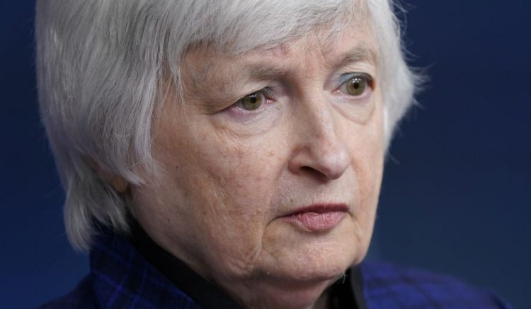 Treasury Secretary Janet Yellen listens to a reporter's question during a press briefing at the White House, Friday, May 7, 2021, in Washington. (AP Photo/Patrick Semansky)