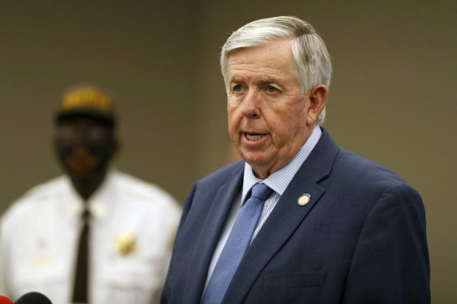 Gov. Mike Parson speaks during a news conference in St. Louis, Mo. (AP Photo/Jeff Roberson, File)