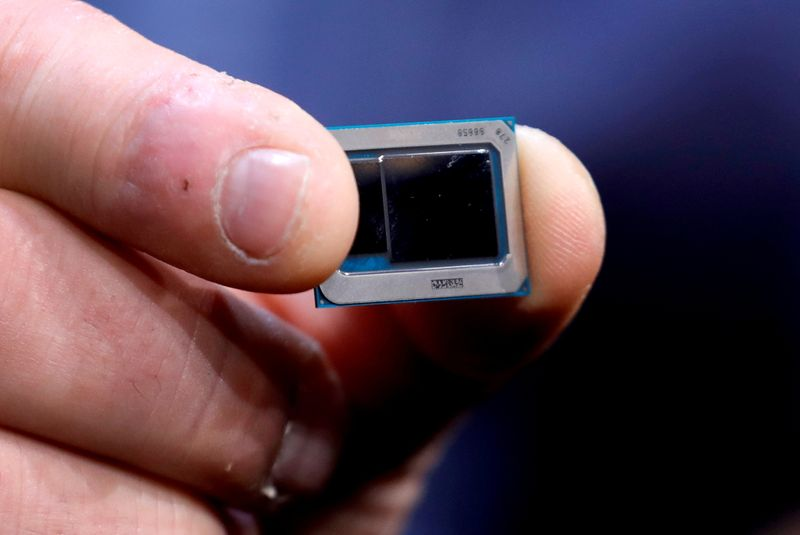 FILE PHOTO: FILE PHOTO: An Intel Tiger Lake chip is displayed at an Intel news conference during the 2020 CES in Las Vegas