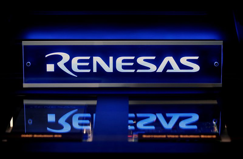 FILE PHOTO: Renesas Electronics Corp's logo is seen on its product at the company's conference in Tokyo