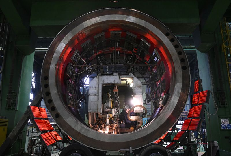 FILE PHOTO: An employee works at the factory Atommash in Volgodonsk
