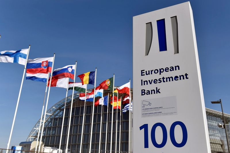 FILE PHOTO: Flags are seen behind the logo of the EIB pictured in the city of Luxembourg