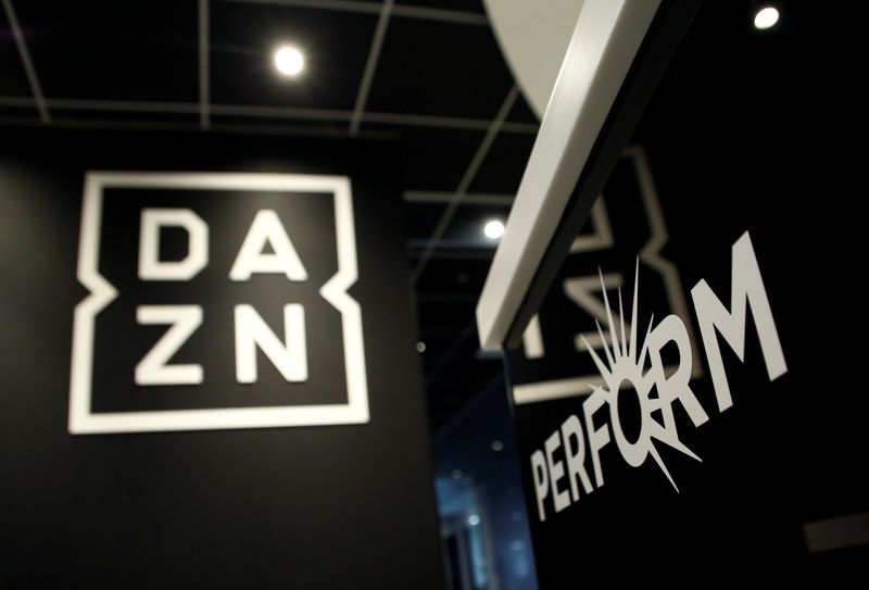 Internet streaming service DAZN's logo and Perform Group's logo is pictured in DAZN's office in Tokyo