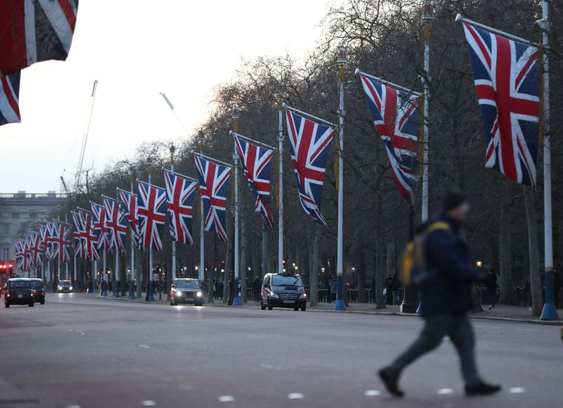 A Britain flags are seen in The Mall street in London