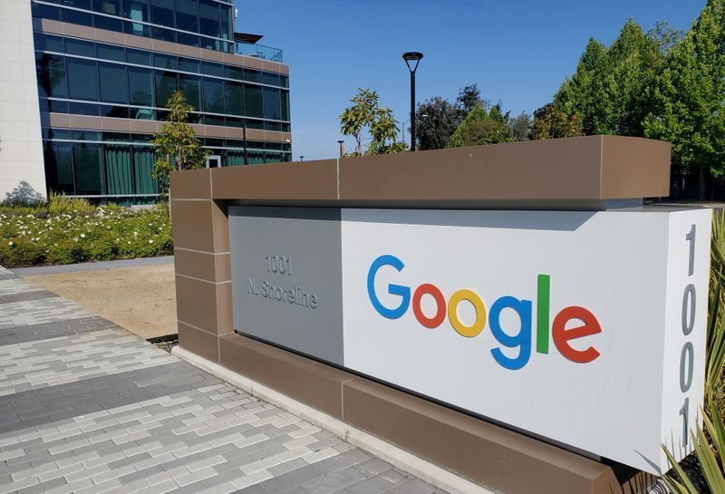 om_FILE PHOTO: A sign is pictured outside a Google office near the company's headquarters in Mountain View, California