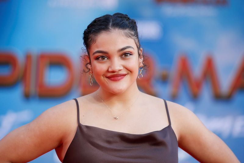 U.S. Olympic gymnast Laurie Hernandez poses at the World Premiere of Marvel Studios'