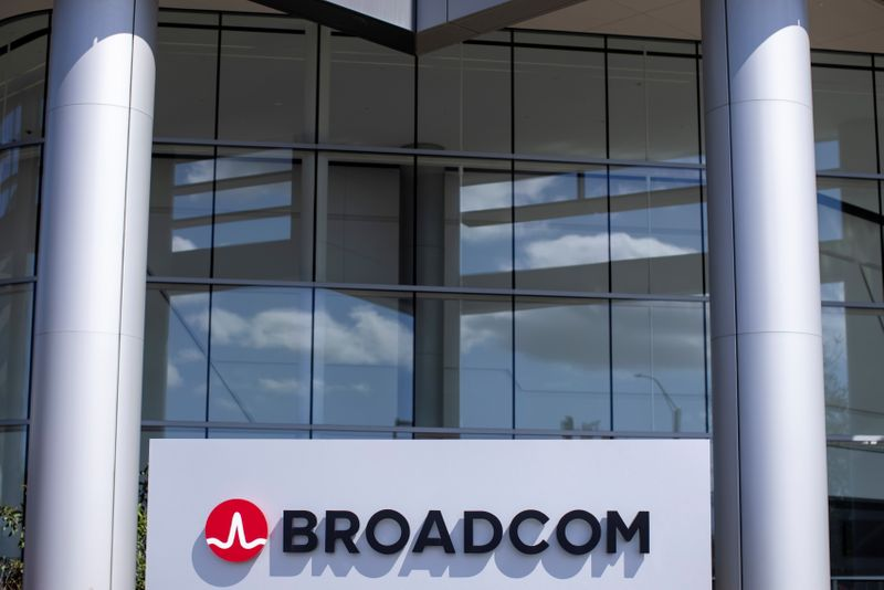 The Broadcom Limited company logo is shown outside one of their office complexes in Irvine, California