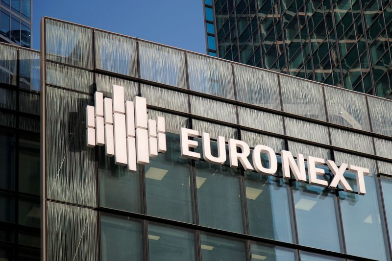 Logo of Euronext is seen on the headquarters at La Defense business and financial district in Courbevoie near Paris
