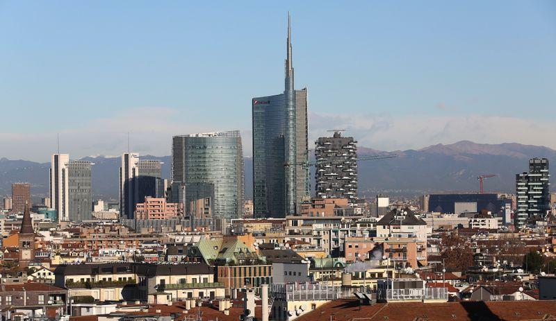The Unicredit headquater is seen at Porta Nuova's district downtown Milan