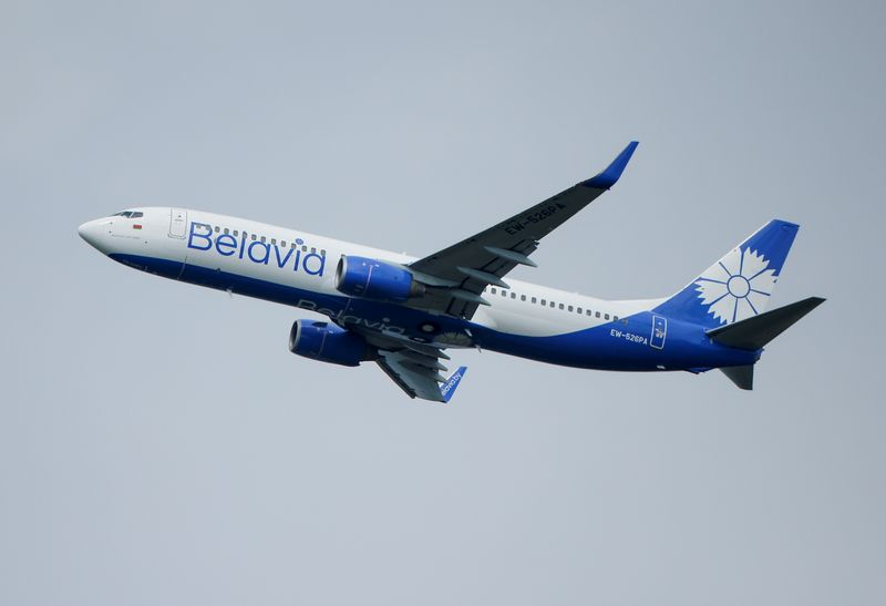 FILE PHOTO: A Boeing 737-800 plane of Belarusian state carrier Belavia takes off at the Domodedovo Airport outside Moscow