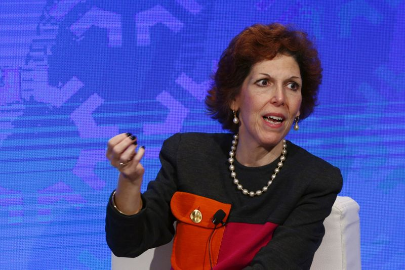 FILE PHOTO: Cleveland Fed President Loretta Mester speaks on a panel in New York