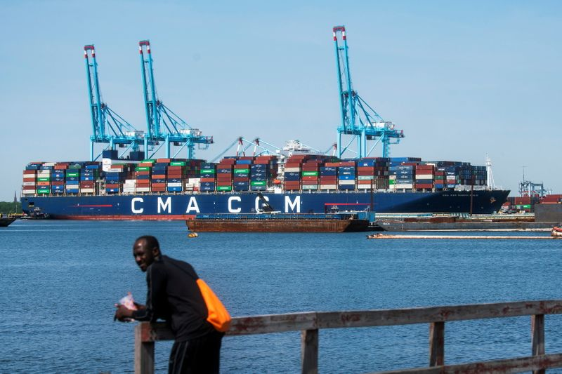 The CMA CGM Marco Polo, an Explorer class container ship docks at Elizabeth port